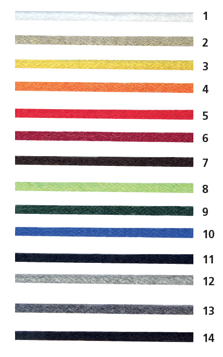 Colori corde di carta ricoperte in cotone
